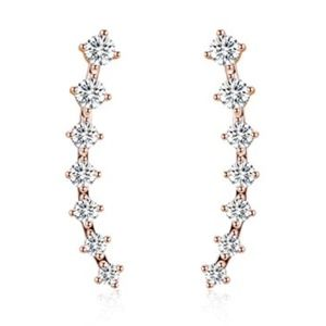 Jewelry - Rose Gold Ear Climber with CZ Studs